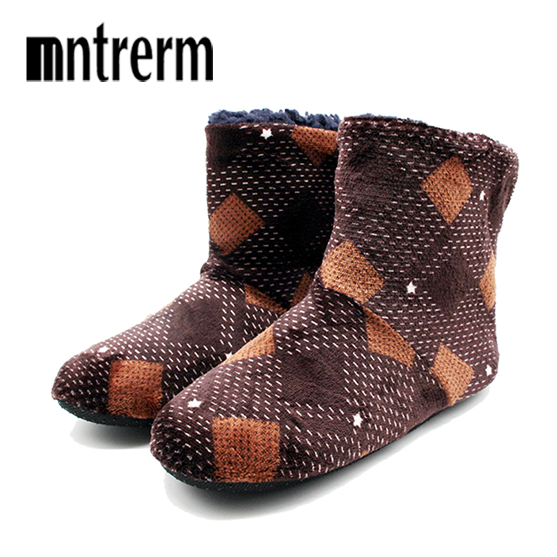 Mntrern Casual Men Shoes Home Slippers Lattice Soft Plush Male House Slippers Warm Winter New Cotton Slippers Shoes Men Big Size(China)