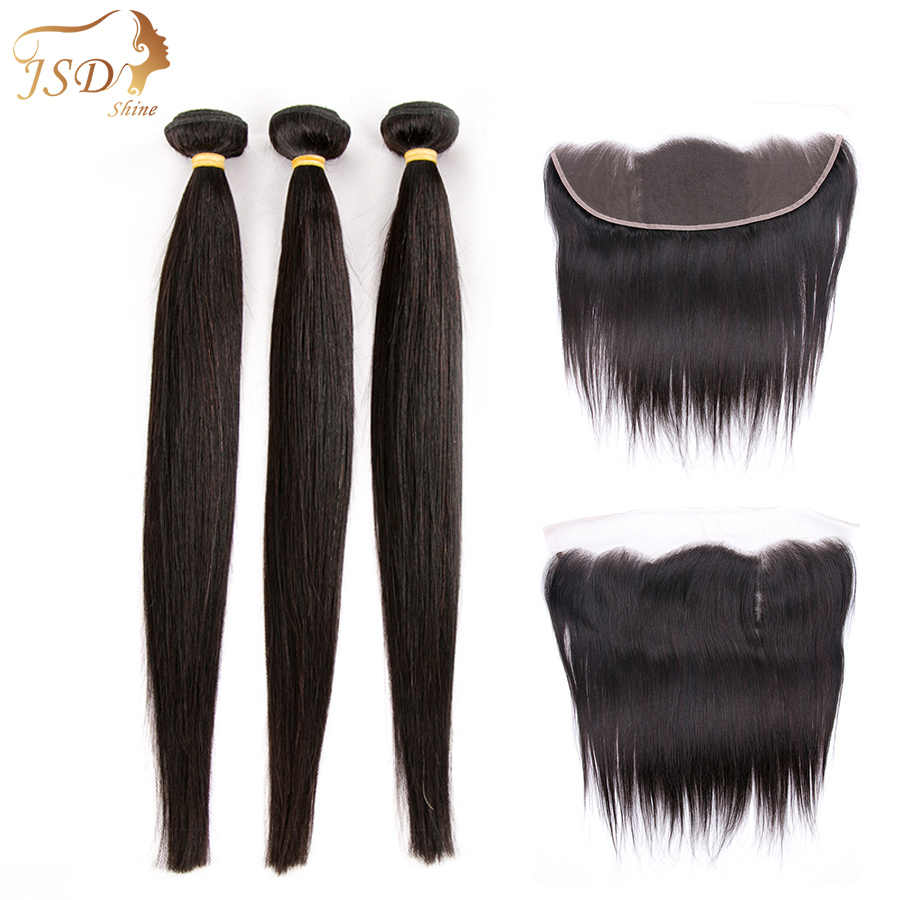 JSDshine Brazilian Straight Hair Weave Bundles With Frontal Human Hair Bundles With Lace Frontal Closure Natural Color Non Remy