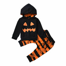 Halloween Baby Girl Clothes Set Toddler Hooded Pumpkin Tops Striped Long Pants 2pcs Boy Outfits Fashion Children Clothing цены онлайн