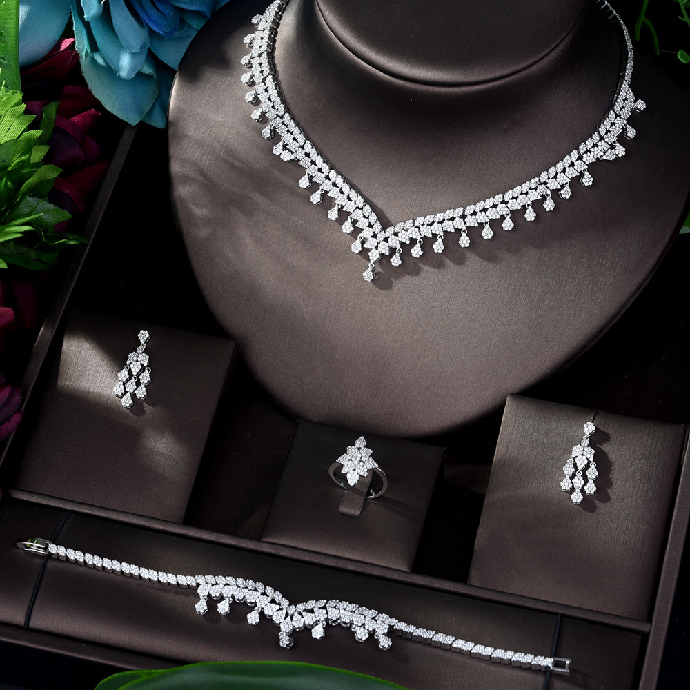 HIBRIDE Luxury White Color 4 pcs Set CZ Jewelry Sets for Women Wedding <font><b>Necklace</b></font> <font><b>Earring</b></font> <font><b>Ring</b></font> <font><b>Bracelet</b></font> Jewelry Accessories N-1163 image