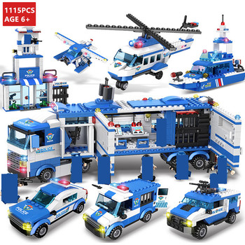 8Pcs/lot City Police SWAT Vehicle Truck Car Helicopter Model Building Blocks Sets Creator Bricks Playmobil Educational Kids Toys new city police fire station truck spray water gun firemen car building blocks sets bricks model kids toys compatible legoes