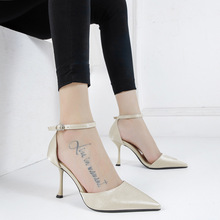 Liren 2019 Summer New PU Fashion Casual Sexy Lady Buckle Sandals Pointed Toe High Thin Heels Comfortable Women