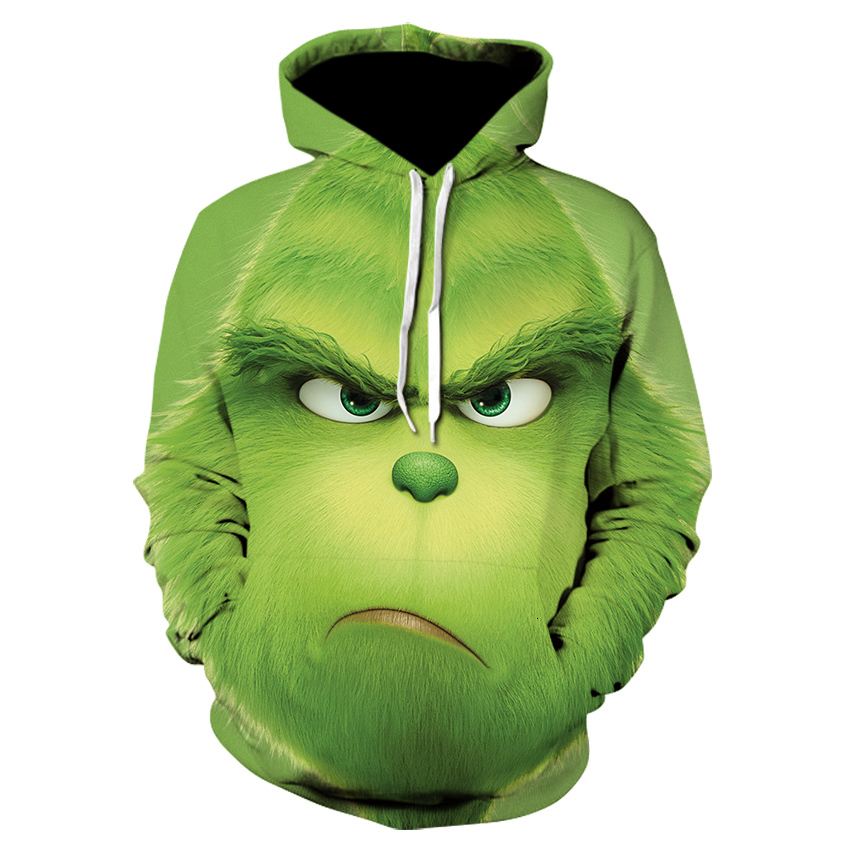 2019 New Movie The Grinch 3d Printing Sweatshirt Hip Hop Streetwear Coat Hoodie Men Fashion Casual Harajuku Funny Mens Hoodies