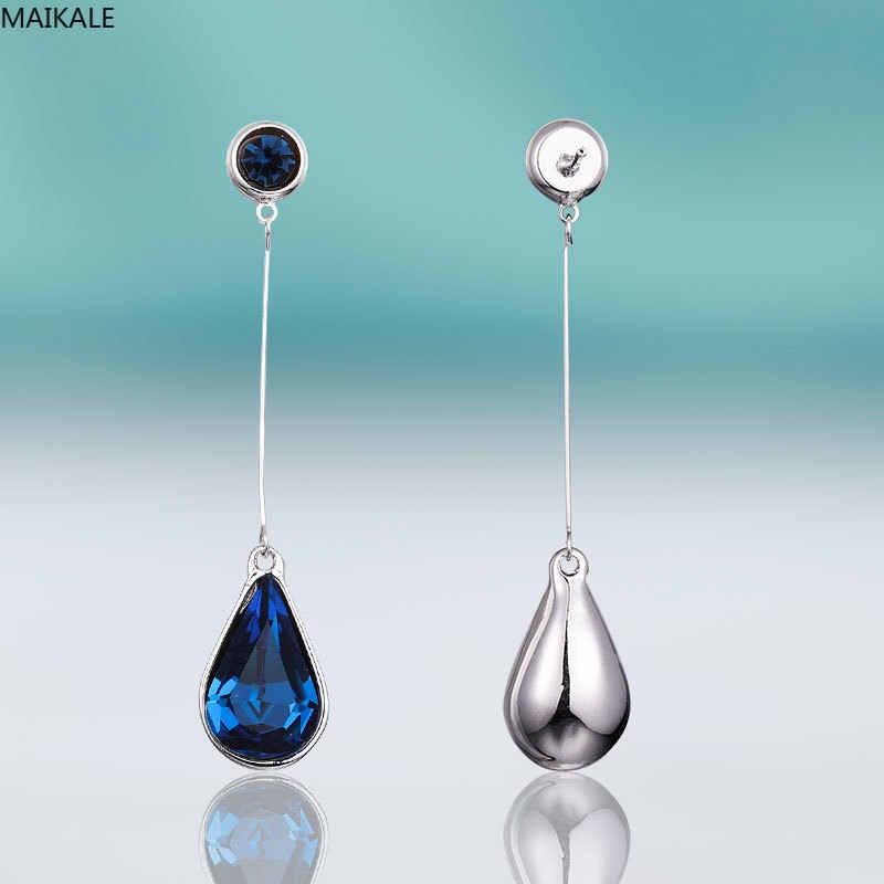 Cristal Plateado Plata Pendientes Largos Pendientes de gota de lágrima Mujeres//Niñas