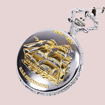 9020Golden Sailing Pocket Watch Explosion Section Large Thick Chain Golden Sailboat Smooth Sailing Pocket Watch