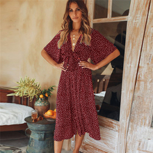 VZFF Womens Summer Casual Bohemian Dress Short Sleeve V-neck 2019 Fashion New Wrap