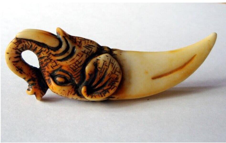 Rare China Old Tiger Teeth Carving Bone Statue Free Shipping