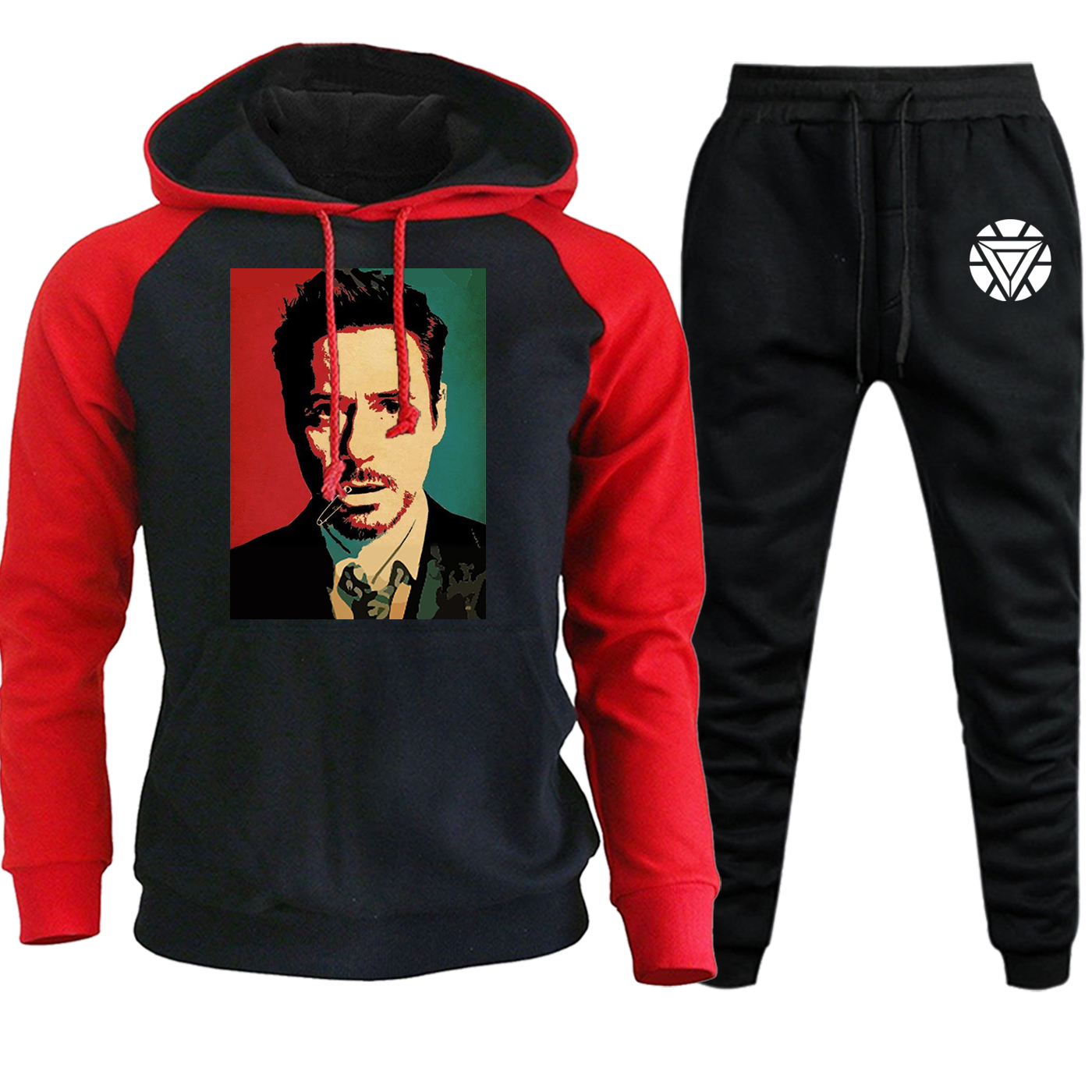 Tony Stark Hoodies Mens Autumn Winter Iron Man Streetwear Raglan The Avengters Hip Hop Pullover Fleece Hooded+Pants 2 Piece Set