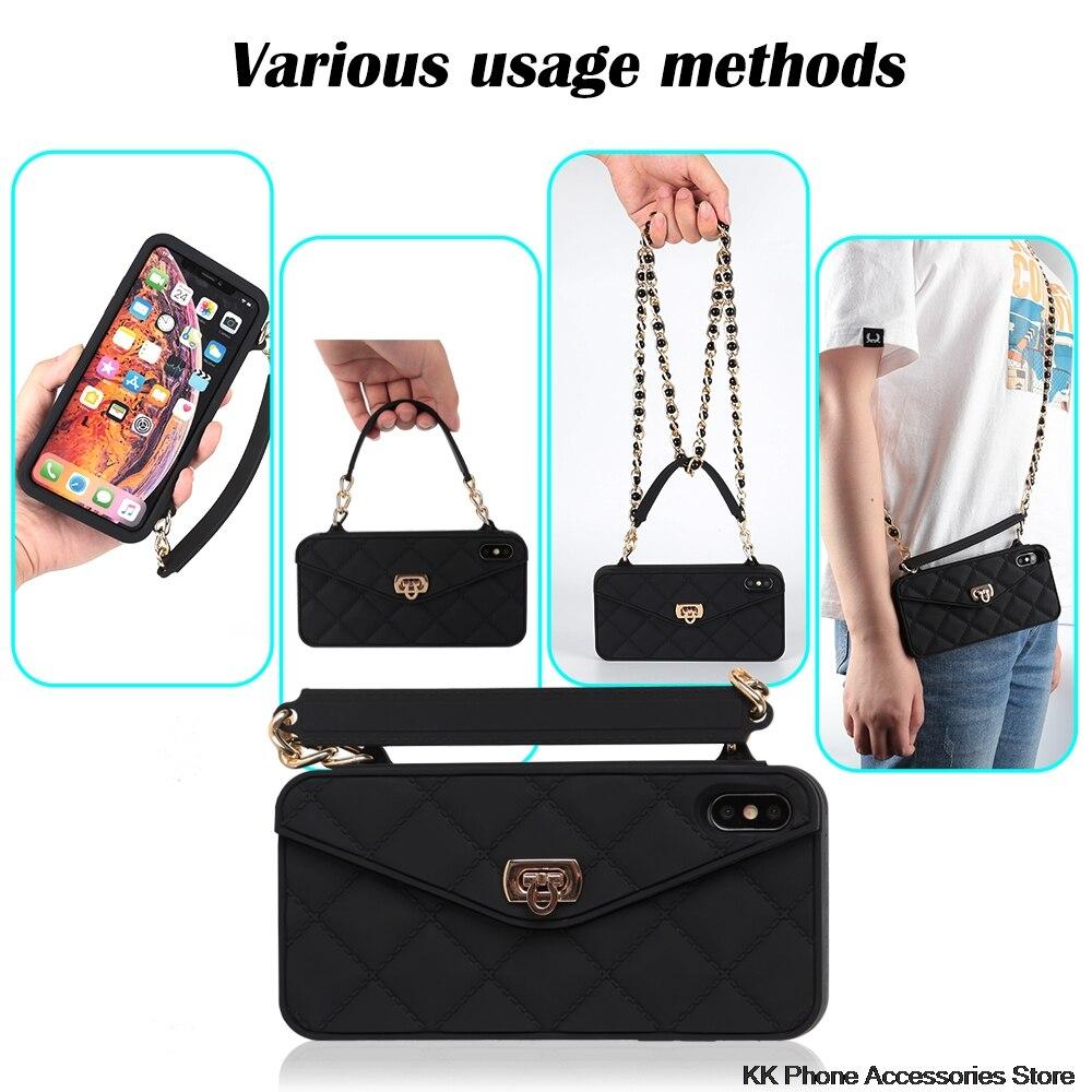 VIP Link Droshipping Brieftasche Weiche Silikon Handtasche Geldbörse Telefon Fall Lange Kette Für iPhone 6 6s 7 8 Plus XS Max XR X 10 11 Pro Max