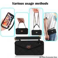 VIP Link Droshipping Wallet Soft Silicone Handbag Purse Phone Case Long Chain For iPhone 6 6s 7 8 Plus XS Max XR X 10 11 Pro Max