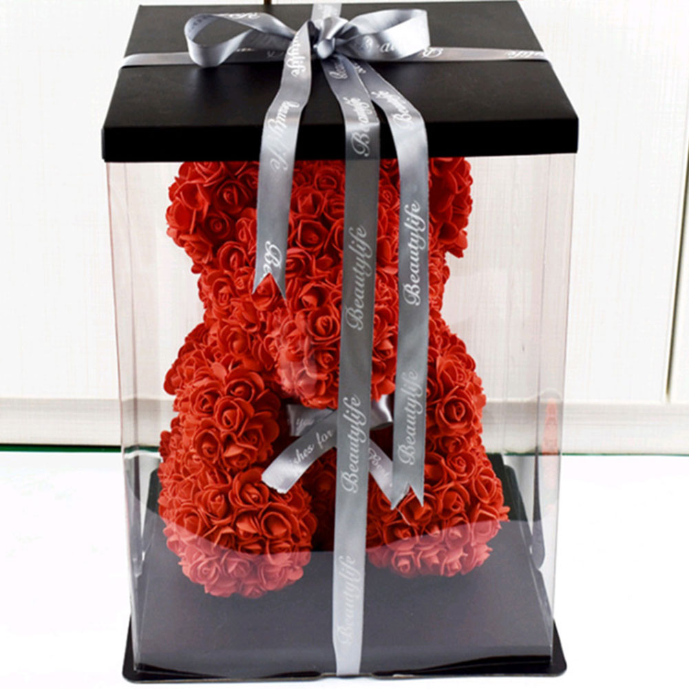 2020 Valentines Day Gift 25cm Simulated PE Flower Rose Bear Flower Artificial Decoration Christmas Gifts Women Valentines Gift