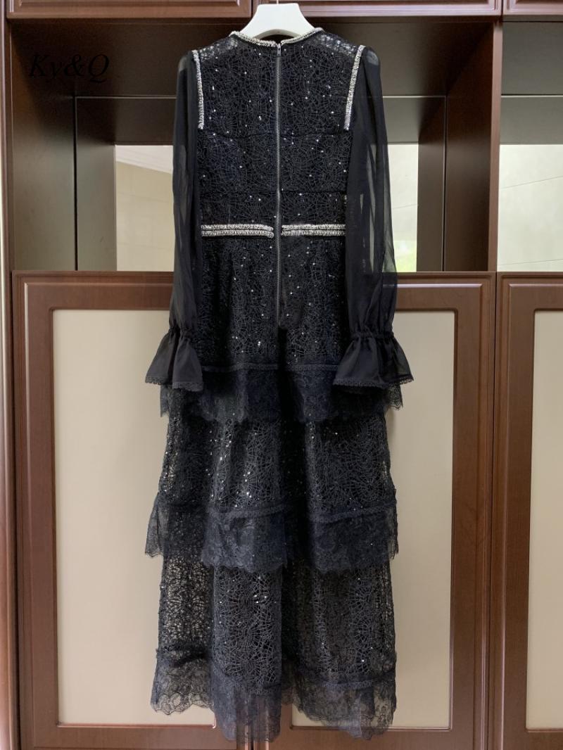 2020 preto marcas designer feminino vintage mangas compridas vestido de renda miçangas bordado vestido floral longo banquete festa longo vestido - 3