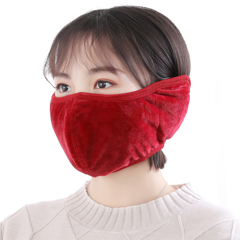 Women Men Ear Protective Mouth Mask Winter Earmuff Windproof Anti Dust Winter Masks Breathable Flannel Solid Anti Haze Face Mask