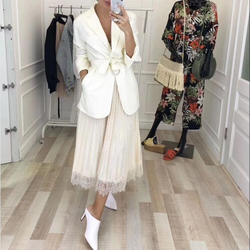 Runway 2 Piece Set Women Spring Fall New Notched Collar Long Blazer And Fashion Mesh Lace Patchwork Dot Long Maxi Skirts Suits