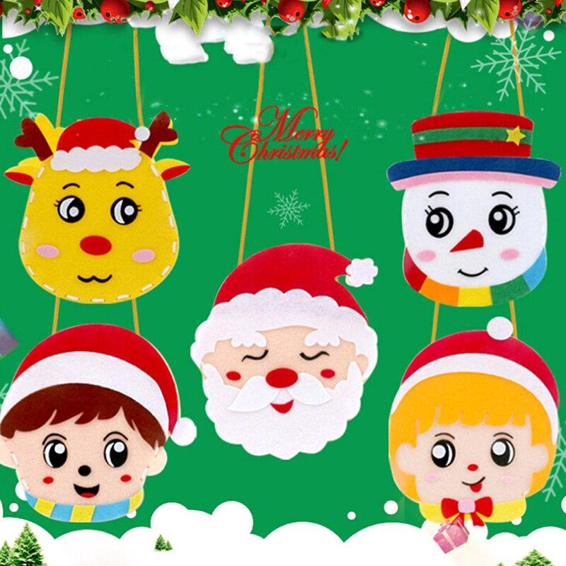 Navidad DIY tela de fieltro Kit para manualidades bolso hecho a mano artesanía Material juguetes educativos para niños de jardín de infantes Pintura de diamante ZOOYA, imágenes de mosaico de bordado de diamantes redondos, 5d pegatinas de pared, artesanías de mariposa, Ángel, Luna, regalos R285