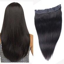Straight Halo Hair Extensions Fish Line Human Hair Extension Invisible Hidden Wire Hair Extensions Natural Russian Hair