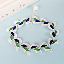 Olive Leaf Bangles Women Silver Bracelet Cloisonne Enamel Jewelry Chinese Handmade Ethnic Hand Chain 999 Sterling Bangle