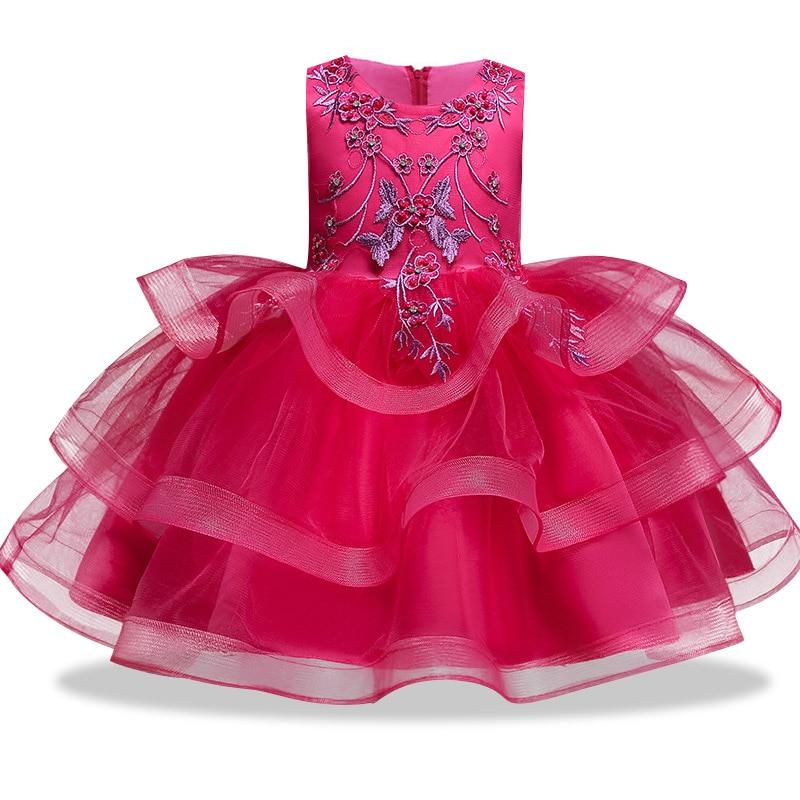 Вечерние платья с вышивкой для девочек; свадебные вечерние платья для девочек с цветами и бусинами; Детский карнавальный костюм Pengpeng - Цвет: rose red