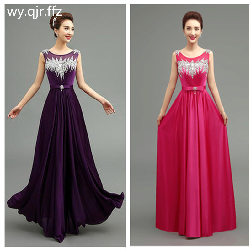 QLY140#Long Bridesmaid Dresses Gary Purple Red Royal Blue Lace Up Black Satin Set With Diamonds Chorus Party Dress Wholesale