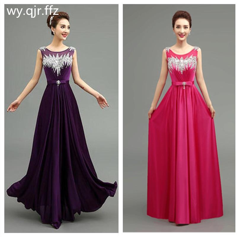 QLY140#Long Bridesmaid Dresses Gary Purple Red Royal Blue Lace Up Black Satin Set With Diamonds Chorus Party Dress Wholesale