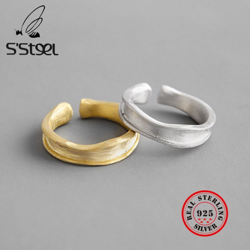 S'STEEL Irregular 925 Sterling Silver Rings Anillos Plata Para Bijoux Argent Massif Pour Femme Accessories Women Fine Jewelry