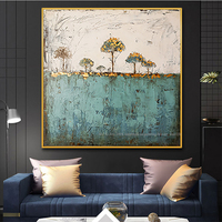 Hand painted Abstract painting on canvas paintings for living room wall landscape tree green vintage pictures on the wall