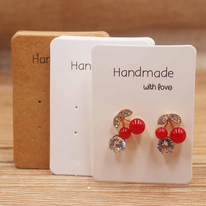 50PcsDIY Handmade Series Paper Earring Tags Kraft Display Hanging Cards Package For Ear Studs Earrings  Jewelry Package
