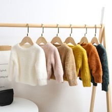 Toddler Blouse Baby Boy Girl Solid Sweater Autumn Winter Toddler Warm Long Sleeve T-shirt Tops Baby Clothes