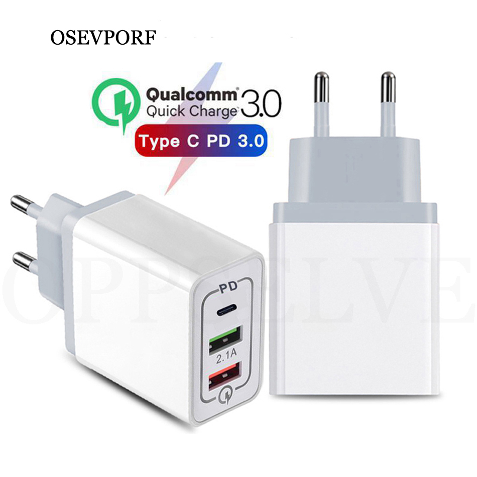 OSEVPORF Quick Charge 3.0 QC PD <font><b>Charger</b></font> <font><b>30W</b></font> QC3.0 <font><b>USB</b></font> Type C Fast <font><b>Charger</b></font> for iPhone 11 Pro Max X Xs 8 7 Xiaomi Phone PD <font><b>Charger</b></font> image
