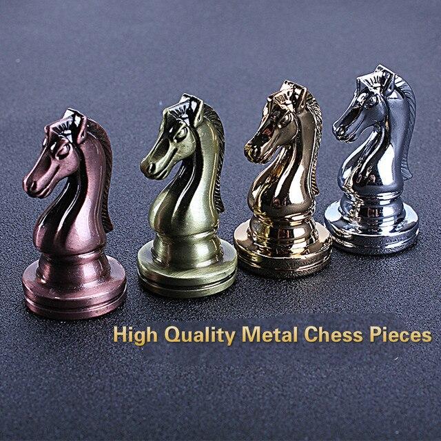 Jeu d'échecs professionnel 30cm, pièces Bronze doré et argenté brillant, échiquier pliant en bois massif de haute qualité 5