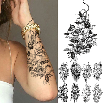 Black Large Snake Flower Fake Tattoo Sticker For Women Dot Rose Peony Temporary Tattoos DIY Water Transfer Tatoos Girls 1
