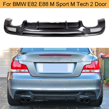 Car Rear Bumper Lip Spoiler Diffuser for BMW E82 E88 M Sport 2 Door 120i 125i 128i 135i 2007-2013 Four Outlet Carbon Fiber / FRP image