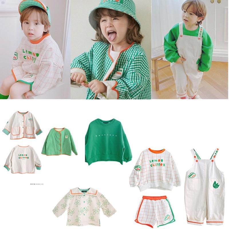 2021 New Spring Summer RJ Korean Brand Kids T-shirts Sweatshirt Baby Girls Children Cartoon T shirt Boy Clothes Jacket Overall 1