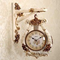 Double sided Wall Clock Living Room Creative Mute Two sided Clock Modern Retro American Fashion Home Clock Harp