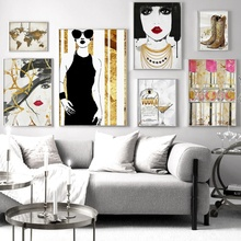 Girl Lipstick World Map Vintage Wall Art Canvas Painting Nordic Posters And Prints Abstract Pictures For Living Room Decor