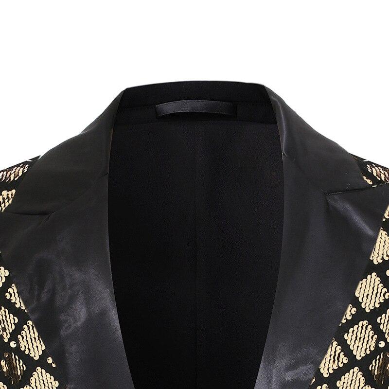 Image 3 - Błyszczące złoto diamentowe cekiny Blazer mężczyźni klapa zamknięta mężczyzna garnitur kurtka etap bankiet Host do klubu na imprezę Disco Blazer Masculino kostium w Marynarki od Odzież męska na