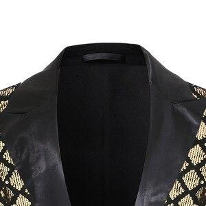 Image 3 - Shiny Gold Diamond Sequins Blazer Men Peak Lapel Mens Suit Jacket Stage Banquet Host Party Club Disco Blazer Masculino Costume