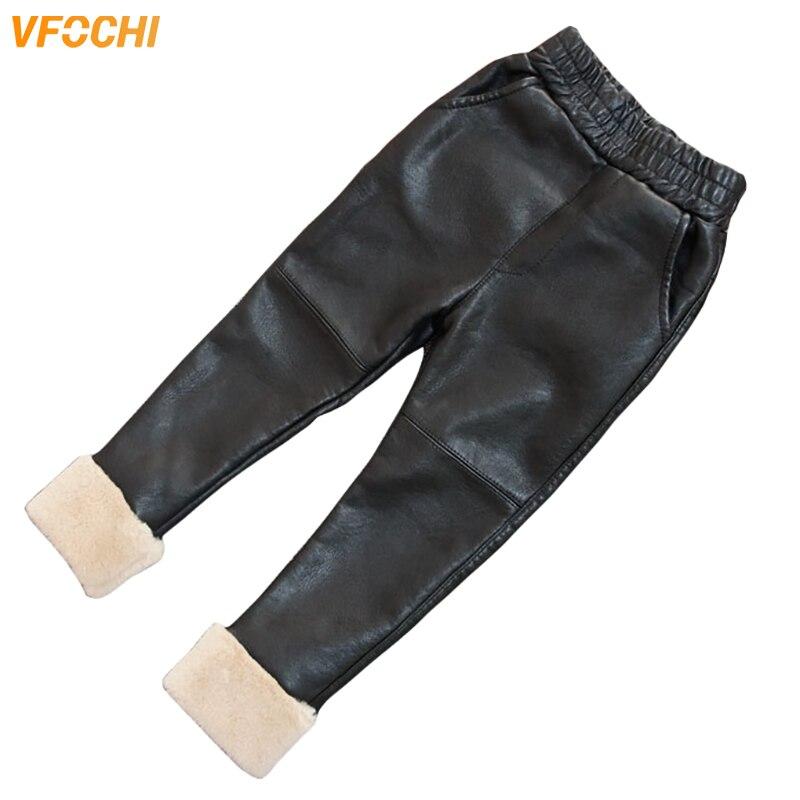 VFOCHI New Girls Leather Pants Winter Thick Velvet Stretch Waist Kids Children Trousers Thicken