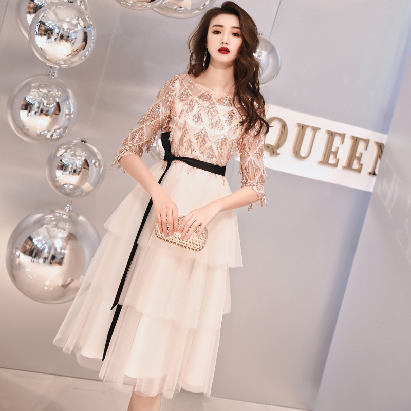 2020 New Arrival High/low Scoop Bridesmaid Dresses Long Tuxedo, Banquet Dress, Women's New Party In Spring And Summer 2020
