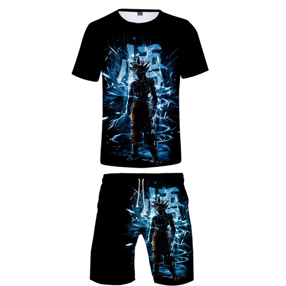 Dragon Ball Never Broke Again 3D Man 2 Set Summer Popular Hip Hop Fashion High Street T-shirt Shirt+Short Pants Sets