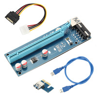 Tarjeta elevadora PCIE de 60CM, Cable USB de protección de sobrecorriente, SATA a Cable de alimentación de 4 pines, 1X a 16X, PCI Express, QJY99