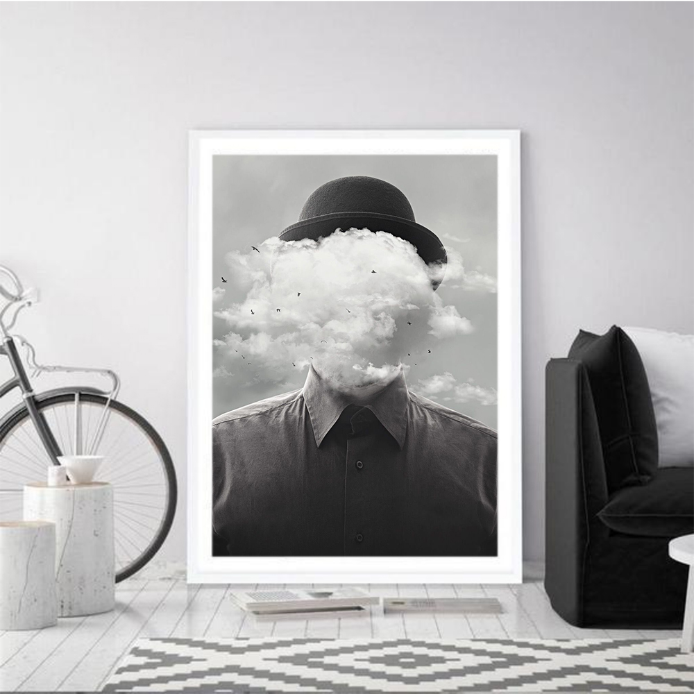 Quadro Cloudy Man Wall Art <font><b>Palm</b></font> On Canvas Painting Poster Vintage Posters And Prints Wall Pictures For Living Room Home Decor image