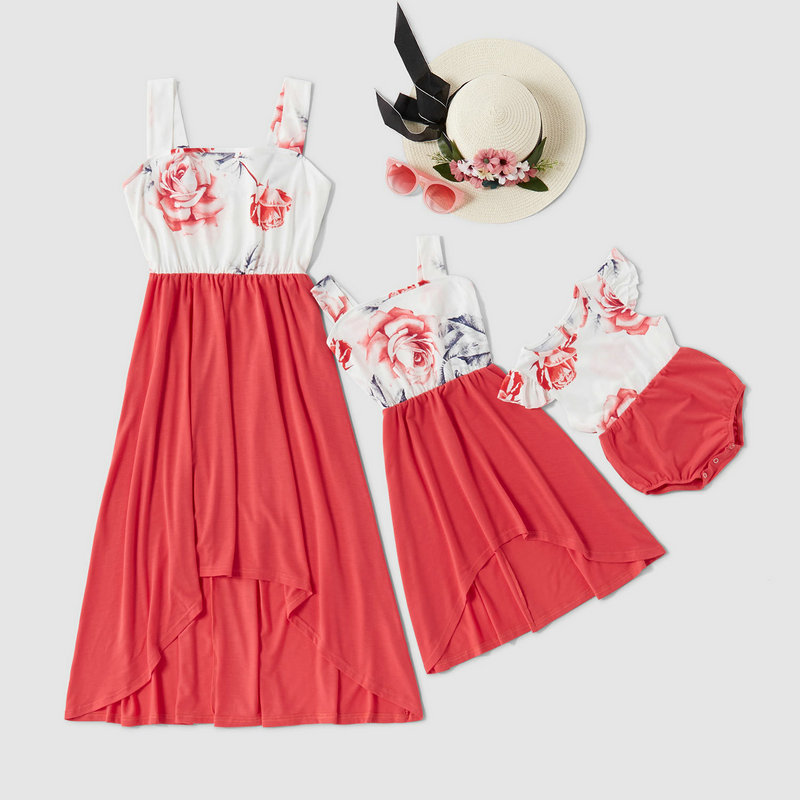 2020 Sleeveless Floral Pathwork Matching Dresses Mother Daughter Dresses And Baby Romper Family Matching Outfits Mommy And Me