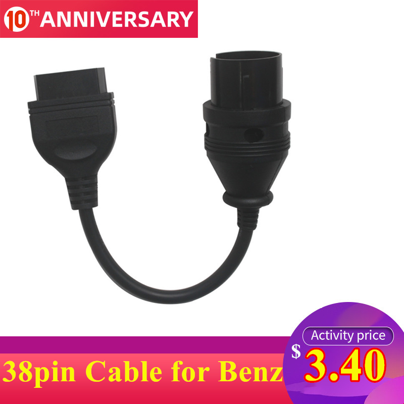 38 Pin Cable OBD Cable OBD2 Adapter 38 Pin For Mercedes OBD Cable For Benz 38pin To 16pin Automotive Connector