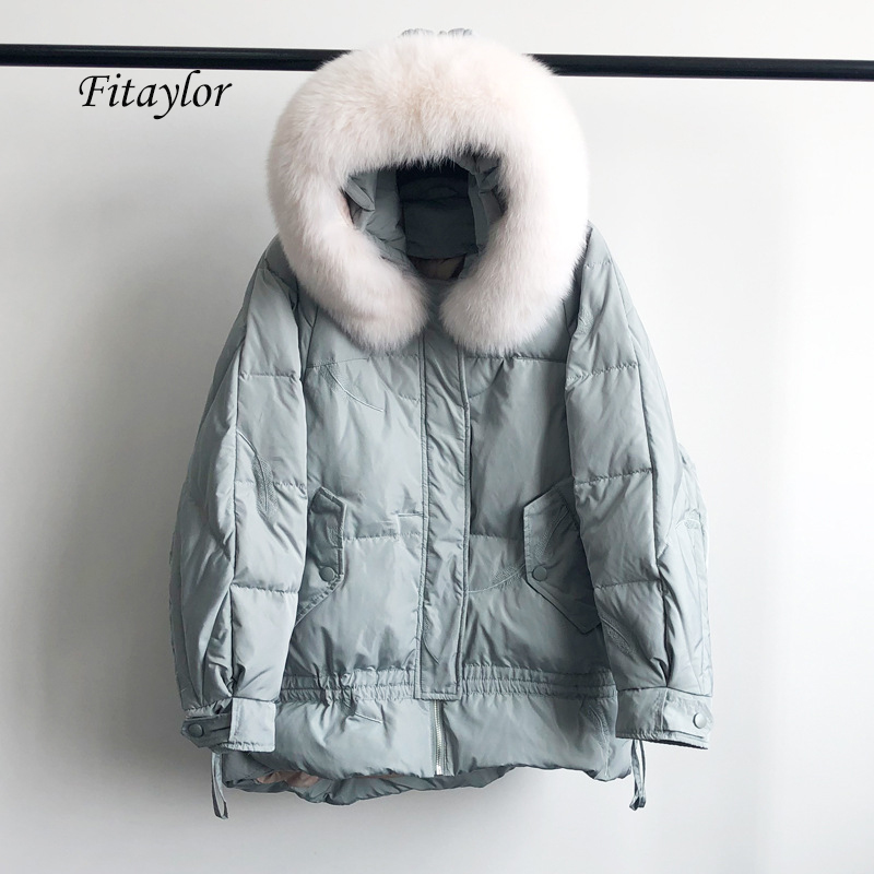 Fitaylor New Winter Large Natural Fox Fur Hooded Jacket Warm 90% White Duck Down Parka Women Loose Thickness Snow Down Outwear