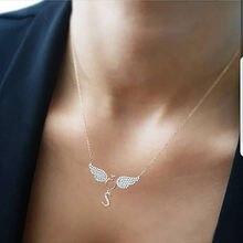 Женское Ожерелье с кулоном «Крылья Ангела» длинная цепочка цветными