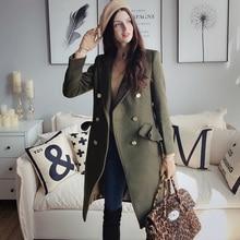 Dabuwawa Wool Blend Warm Women's Coat Pockets Long Sleeve Ov