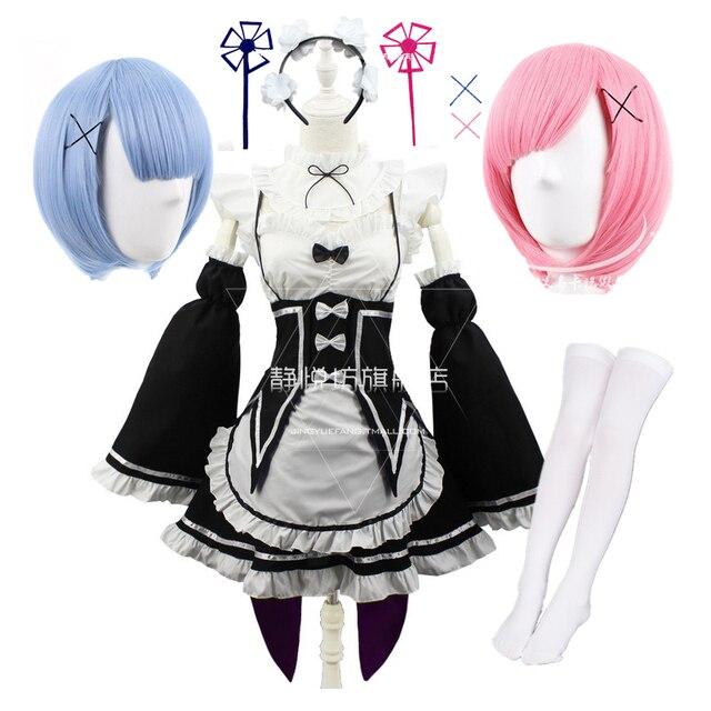Ram/Rem Cosplay Re:zero Kara Hajimeru Isekai Seikatsu black blue red Costume Maid Servant Dress