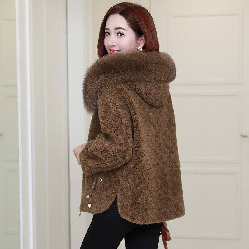 Women Real Wool Fur Coat Sheep Shearing Coats Female Short Warm Autumn Winter Jackets Fox Fur Hooded Clothes 2020 LWL1271