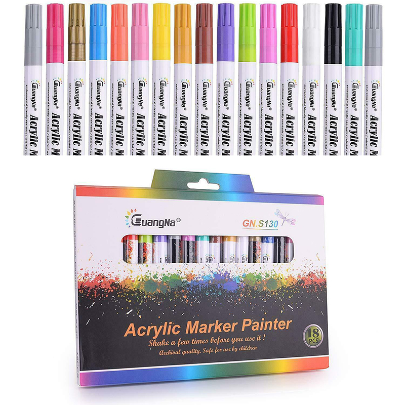 18 Colors/set 0.7mm Acrylic Color Marker Pen Acrylic Marker Painter Water-based Markers Highlighters Pens School Office Supply